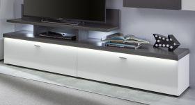 TV-Lowboard Tavas in Hochglanz weiß und Wolfram grau 205 x 39 cm inkl. Frontbeleuchtung und TV-Podest