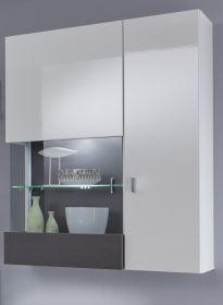 Hängevitrine Tavas in Hochglanz weiß und Wolfram grau Vitrinenschrank inkl. Frontbeleuchtung 85 x 123 cm