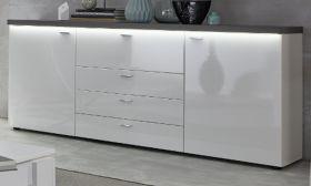 Sideboard Tavas in Hochglanz weiß und Wolfram grau Kommode 182 x 88 cm inkl. Frontbeleuchtung