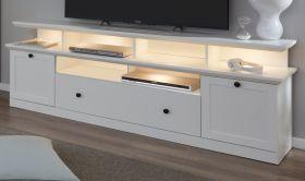 TV-Lowboard Baxter 2-teilig in weiß Landhaus Fernsehtisch inklusive TV-Podest 177 x 65 cm