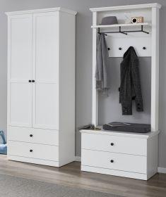 Garderobe Baxter 3-teilig in weiß Landhaus Garderobenset mit Schuh- / Garderobenschrank 177 x 196 cm
