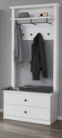 Garderobe Baxter 2-teilig in weiß im Landhausstil mit Wandpaneel und Schuhbank 81 x 196 cm