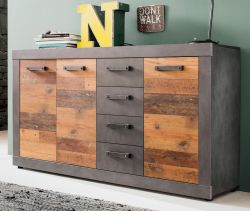Sideboard Indy in Shabby Vintage mit Matera grau Kommode Old Used 151 x 86 cm