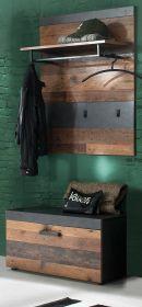 Garderobe Indy 2-teilig in Shabby Vintage mit Matera grau Garderobenset mit Schuhbank und Wandpaneel 80 x 192 cm
