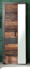 Garderobenschrank Indy in Shabby Vintage mit Matera grau Garderobe oder großer Schuhschrank 65 x 192 cm