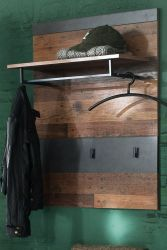 Garderobenpaneel Indy in Shabby Vintage mit Matera grau Wandgarderobe Flurgarderobe 80 x 106 cm
