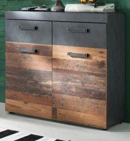 Schuhschrank Indy in Used Wood Shabby mit Matera grau 90 x 89 cm