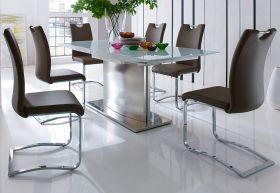 Esstisch Helio in Hochglanz weiß echt Lack Säulentisch ausziehbar 180 / 240 x 90 cm mit Synchronauszug