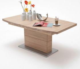 Esstisch Corato in Eiche Bianco massiv geölt / gewachst Säulentisch 180 / 225 / 270 x 100 cm Bootsform ausziehbar