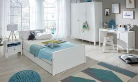 Kinderzimmer / Jugendzimmer komplett Set Ole 5-teilig Landhaus weiß mit Bett Schrank Schreibtisch Nachttisch Bettkasten