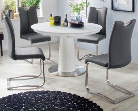 Esstisch Waris in matt weiß echt Lack Säulentisch rund mit Synchronauszug ausziehbar 120 / 160 cm Durchmesser