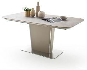Esstisch Koami in matt Taupe echt Lack mit Keramik-Tischplatte in Taupe Säulentisch ausziehbar 140 / 180 x 85 cm