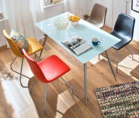 Esstisch Zola Glastisch in weiß mit Chrom Küchentisch 140 x 80 cm