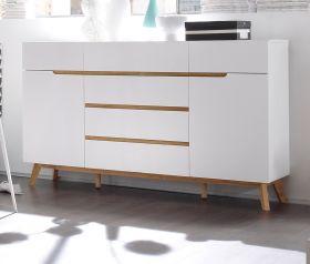 Sideboard Cervo in matt weiß echt Lack mit Asteiche massiv Kommode 169 x 101 cm