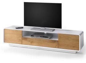TV-Lowboard Toulon in matt weiß echt Lack mit Asteiche massiv Fernsehtisch 170 x 40 cm