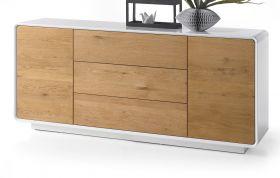 Sideboard Toulon in matt weiß echt Lack mit Asteiche massiv Kommode 170 x 76 cm