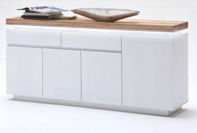Sideboard Romina in matt weiß echt Lack mit Eiche massiv Kommode inkl. dimmbarer LED Beleuchtung 175 x 81 cm