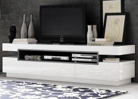 TV-Lowboard Laura in Hochglanz weiß echt Lack mit grau TV-Unterteil 200 x 52 cm