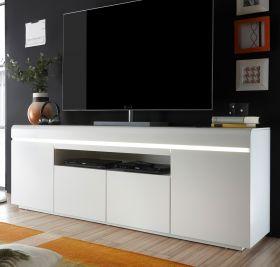 TV-Lowboard Elvia in matt weiß echt Lack TV-Unterteil inkl. dimmbarer LED Beleuchtung 180 x 64 cm