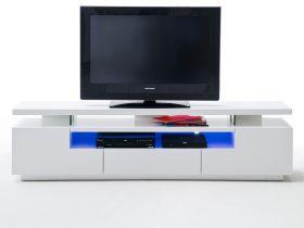 TV-Lowboard Evelina in Hochglanz weiß echt Lack TV-Unterteil inkl. LED Farbwechselbeleuchtung 200 x 51 cm