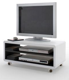 TV-Lowboard Jeff in matt weiß und schwarz Fernsehtisch auf Rollen 79 x 35 cm