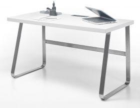 Schreibtisch Beno in matt weiß lackiert Laptoptisch für Homeoffice und Büro 140 x 60 cm