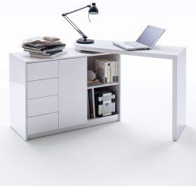Schreibtisch Matt in Hochglanz weiß lackiert schwenkbarer Laptoptisch für Homeoffice und Büro 108 ( 166 ) x 50 cm
