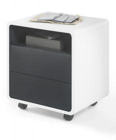Rollcontainer Tadeo in matt weiß und Anthrazit Büromöbel Container rollbar 47 x 55 cm