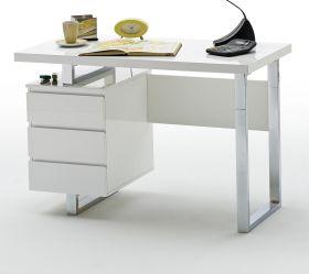 Schreibtisch Sydney in Hochglanz weiß lackiert Laptoptisch mit Schubkästen für Homeoffice und Büro mit 115 x 60 cm