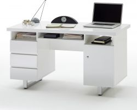 Schreibtisch Sydney in Hochglanz weiß lackiert Laptoptisch mit Schubkästen für Homeoffice und Büro mit 140 x 60 cm