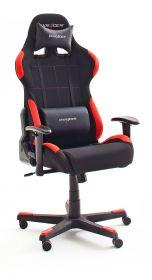 Bürostuhl DX-Racer in schwarz und rot mit Wippmechanik Chefsessel inkl. 2 verstellbarer Stützkissen