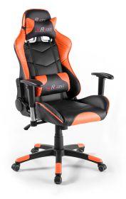 Bürostuhl Mc Racing in Kunstleder schwarz und orange mit Wippmechanik Chefsessel inkl. 2 verstellbarer Stützkissen