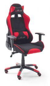 Bürostuhl Mc Racing in schwarz und rot mit Wippmechanik Chefsessel inkl. 2 verstellbarer Stützkissen