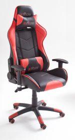 Bürostuhl Mc Racing in Kunstleder schwarz und rot mit Wippmechanik Chefsessel inkl. 2 verstellbarer Stützkissen