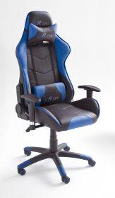 Bürostuhl Mc Racing in Kunstleder schwarz und blau mit Wippmechanik Chefsessel inkl. 2 verstellbarer Stützkissen