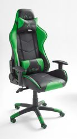 Bürostuhl Mc Racing in Kunstleder schwarz und grün mit Wippmechanik Chefsessel inkl. 2 verstellbarer Stützkissen