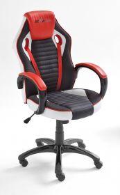 Bürostuhl Burt in schwarz / rot / weiß mit Wippmechanik Drehsessel auf Rollen 60 x 108 cm