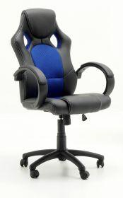 Bürostuhl Ricky in schwarz und blau mit Wippmechanik Drehsessel auf Rollen 60 x 107 cm
