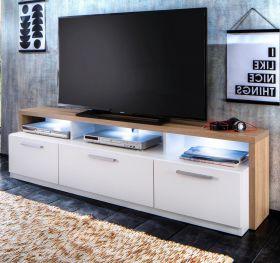 TV-Lowboard Mammut in Sonoma Eiche hell sägerau und weiß TV-Unterteil 171 x 47 cm
