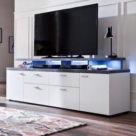 TV-Lowboard Mood in weiß und Stone Design grau Fernsehtisch 180 x 66 cm