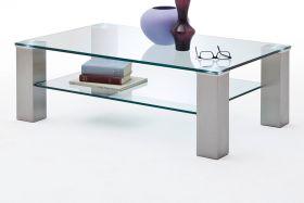 Couchtisch Asta mit Glastischplatte und Edelstahl Wohnzimmertisch mit Ablage rechteckig 110 x 70 cm