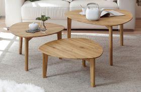 Couchtisch Camilla 3er Set in Asteiche massiv geölt 3 Tische Eiche Wohnzimmer Beistelltisch