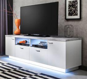 TV-Lowboard Center in weiß und Stone Design grau Fernsehtisch 180 x 59 cm TV in Komforthöhe