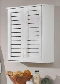 Badezimmer Hängeschrank Olsen in weiß mit Lamellentüren Badschrank 60 x 68 cm Badmöbel