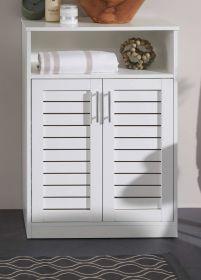 Badezimmer Unterschrank Olsen in weiß mit Lamellentüren Badschrank 60 x 89 cm Badmöbel Kommode