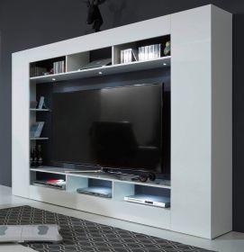 Medienwand Max in Hochglanz weiß Fernsehschrank gesamt 216 x 160 cm TV-Ausschnitt 158 x 94 cm