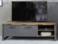 TV-Lowboard Prime in Old Used Wood Design mit Matera grau TV-Unterteil Shabby 178 x 52 cm