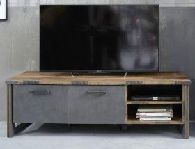 TV-Lowboard Prime in Old Used Wood Design mit Matera grau TV-Unterteil Shabby 178 x 52 cm