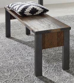 Sitzbank Prime in Old Used Wood Design mit Matera grau Esstisch Bank ohne Rückenlehne Shabby 140 x 44 cm