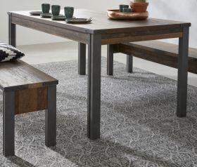 Esstisch Prime in Old Used Wood Design mit Matera grau Küchentisch mit Ablage Shabby 160 x 90 cm